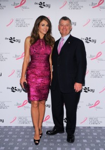 Elizabeth Hurley, William P. Lauder_2012 Toronto Press Event at The Bay