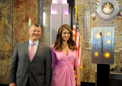 Elizabeth Hurley Lights The Empire State Building Pink To Celebrate The 20th Anniversary Of The Estee Lauder Companies' Breast Cancer Awareness Campaign